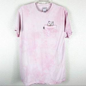 RipNDip Pink Tie Dye Middle Finger Pocket Cat Tee